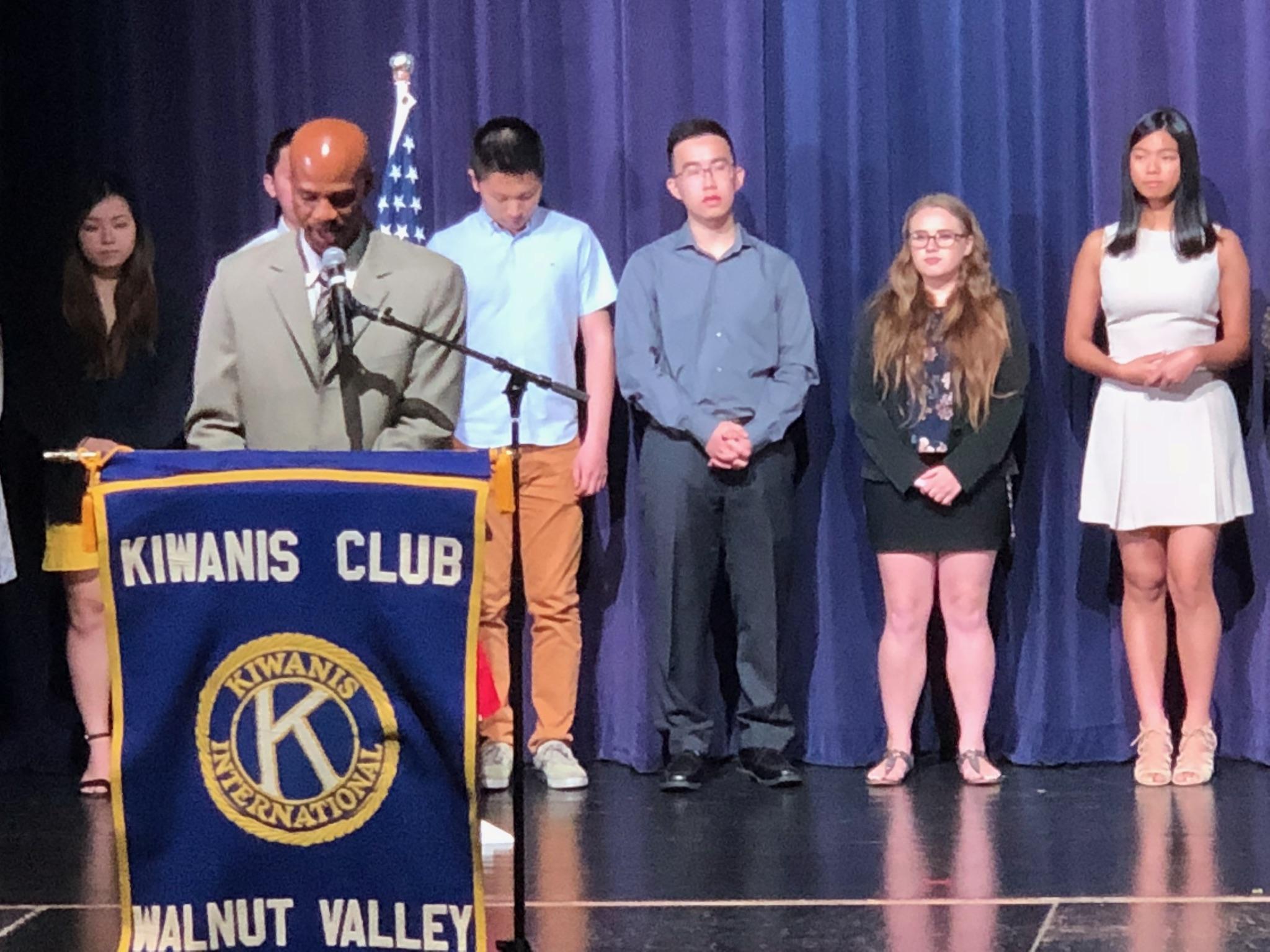 Allison Greene accepting Kiwanis Club Award